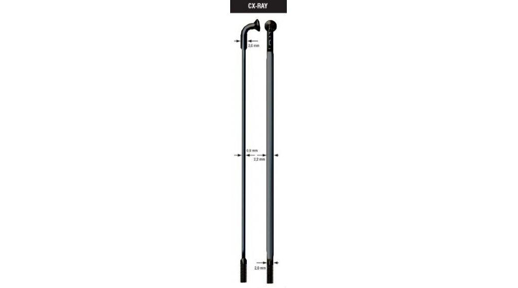 Drát Sapim CX Ray - černý - zeslabovaný 2-0,9-2mm - různé délky 206mm