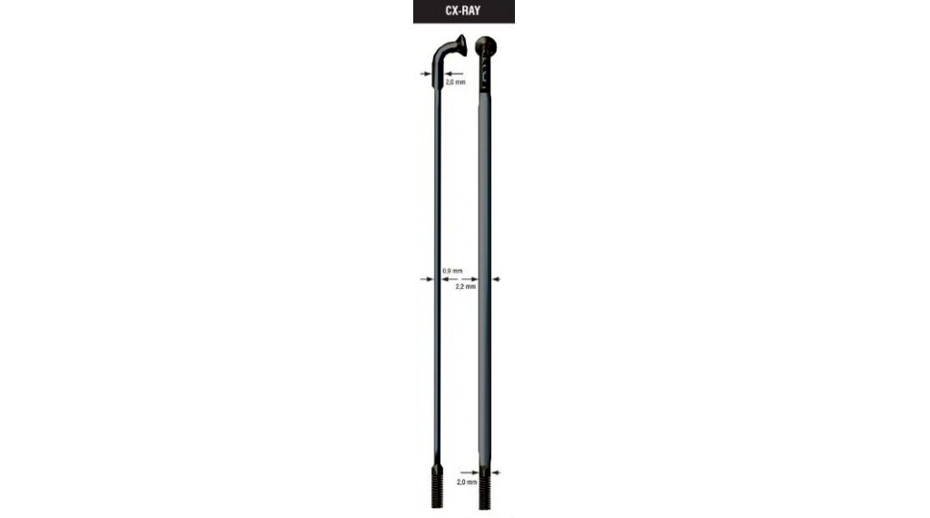 Drát Sapim CX Ray - černý - zeslabovaný 2-0,9-2mm - různé délky 222mm
