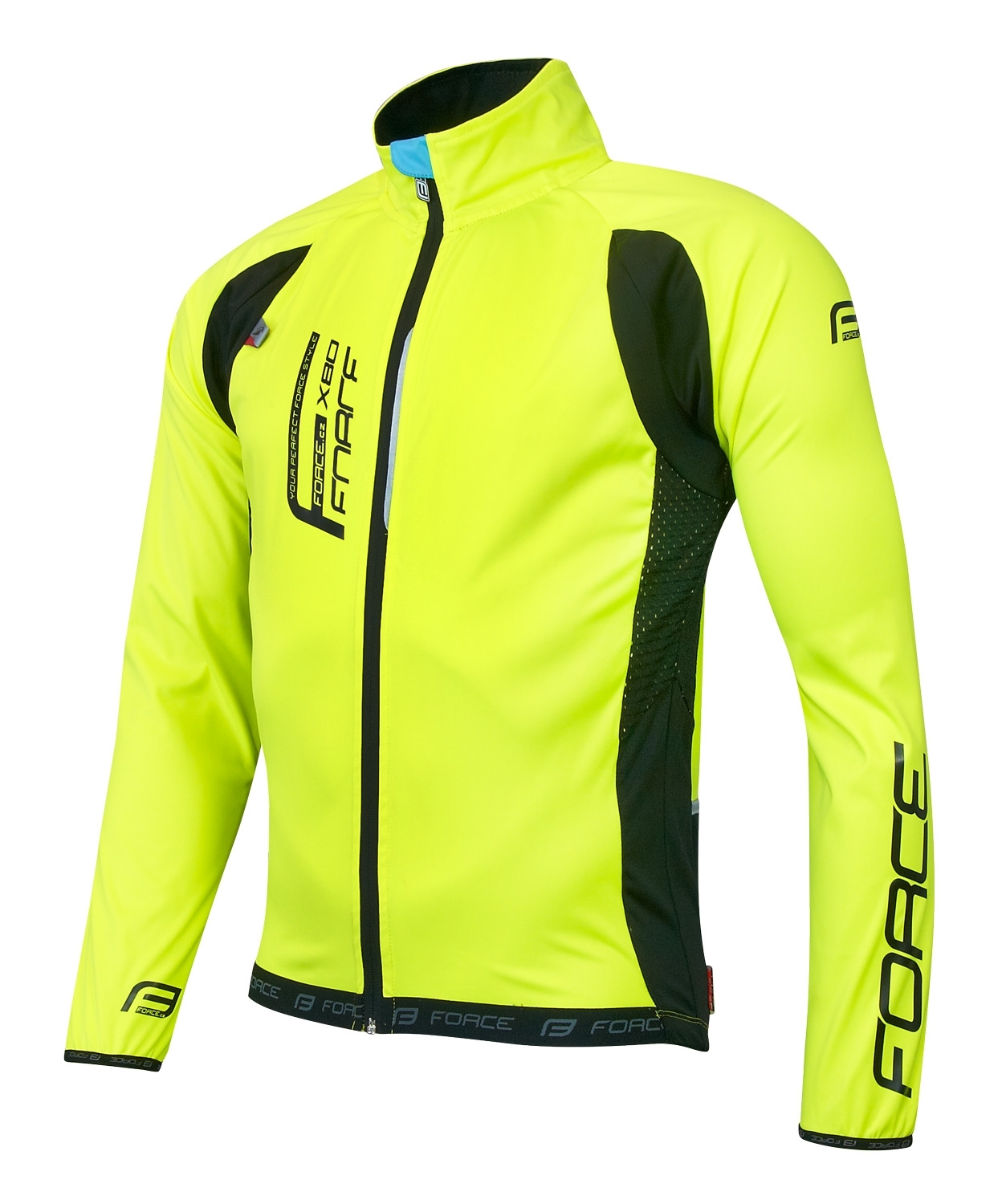 FORCE bunda F X80 tenký softshell, UNI, fluo XL
