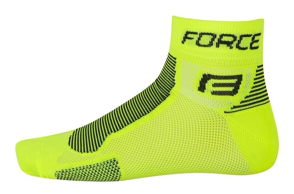 ponožky FORCE 1, fluo-černé L - XL