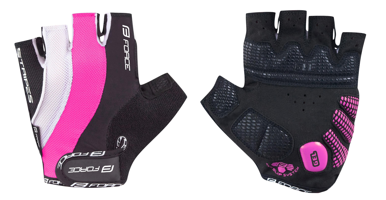 rukavice FORCE STRIPES gel dámské, růžové L