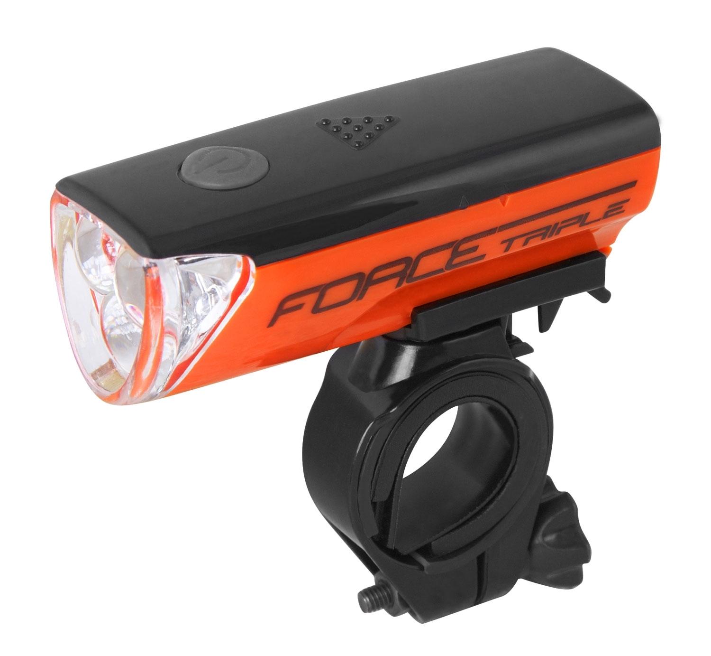 světlo přední FORCE TRIPLE 3 diody +baterie,oranžové
