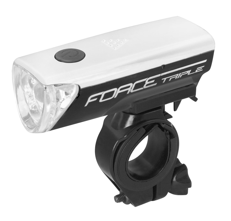 světlo přední FORCE TRIPLE 3 diody +baterie, černé