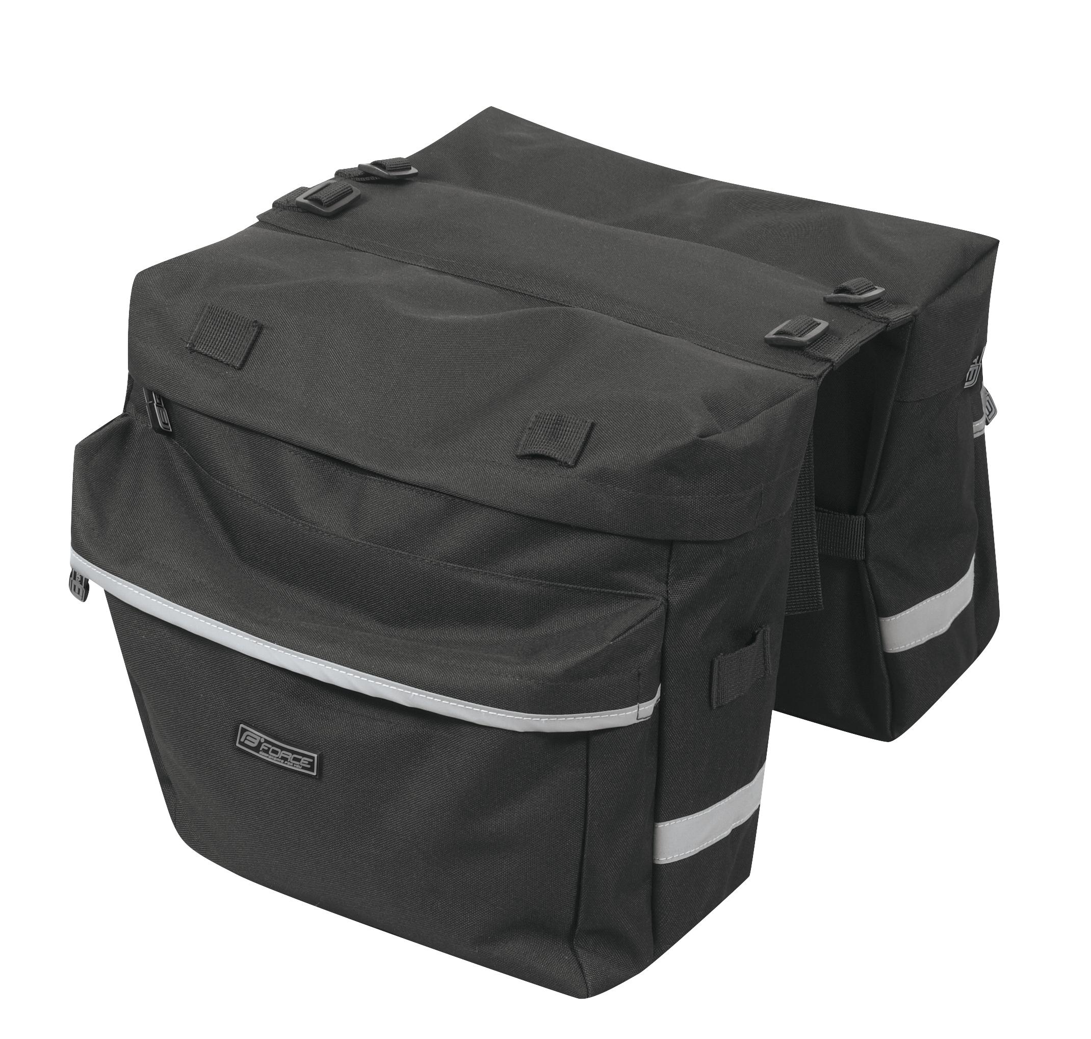 brašna-dvojbrašna zadní FORCE DOUBLE, černá 2x10 l