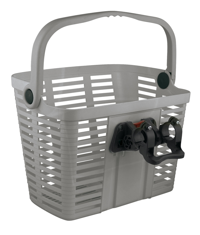 BELLELLI košík plastový na řídítka KLICK FIX, stříbrný