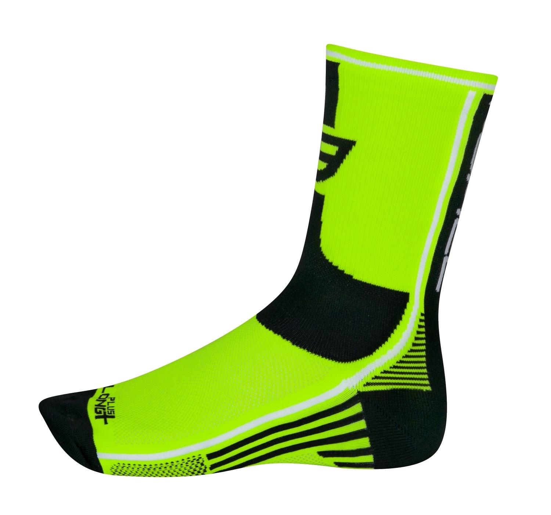 ponožky FORCE LONG PLUS, fluo-černé L-XL