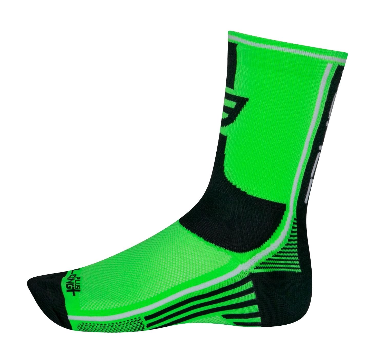 ponožky FORCE LONG PLUS, zeleno-černo-bílé L-XL